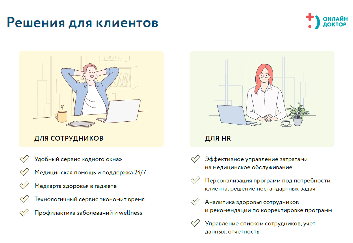 Программы круглосуточной заботы о здоровье сотрудников от сервиса  Онлайн Доктор